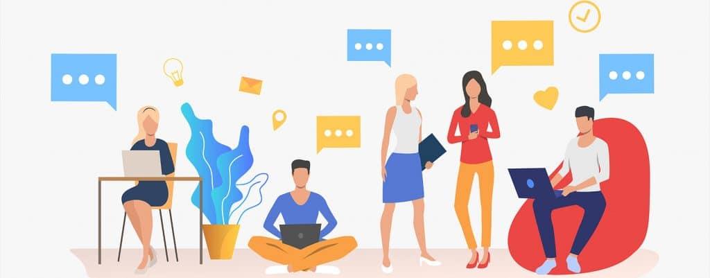 Coworking space people talking